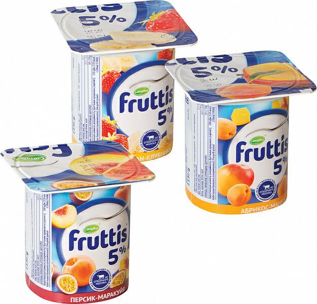 Йогурт ФРУТТИС в ассортименте 5% Оптовая база, склад-магазин «Трион» г. Нягань