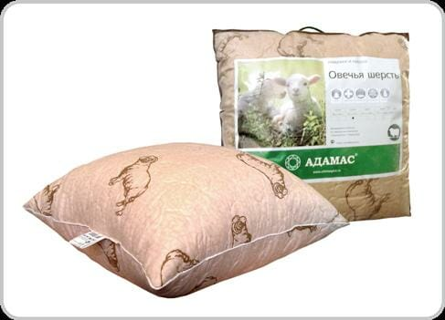 Подушка 50х70 овеч.шерсть Адамас инд,сумка Оптовая база, склад-магазин «Трион» г. Нягань